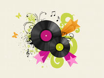 Vinyl discs. With floral and starred background Royalty Free Stock Image
