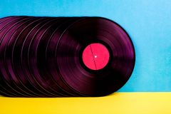 Vinyl discs on background. royalty free stock photography