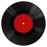Vinyl disk with red label Royalty Free Stock Images