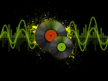 Vinyl disks. With spots and equalizer Royalty Free Illustration