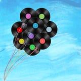 Vinyl disks as balloons Royalty Free Stock Photos