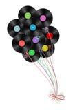 Vinyl disks as balloons Royalty Free Stock Image
