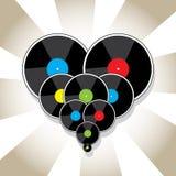 Vinyl disks in heart shape Stock Photos