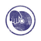 Vinyl and dj hand icon with halftone dots print texture. Stock Photo