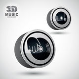 Vinyl with DJ hand vector icon , 3d vector design elemen Royalty Free Stock Images