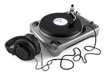 Vinyl dj player with headphones. Turntable Royalty Free Stock Photography