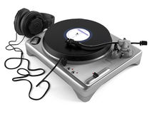 Vinyl dj player with headphones. Turntable Royalty Free Stock Photo