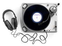 Vinyl dj player with headphones. Turntable Royalty Free Stock Photos