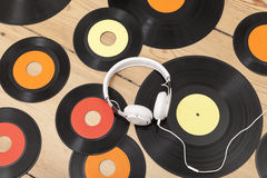 Vinyl and earphone Royalty Free Stock Images