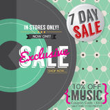 Vinyl Exclusive Sale 7 Days Only For Music Lover Promotion Banner Template. Royalty Free Stock Photography