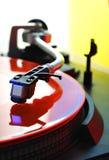 vinyl för färgdiskettturntable Arkivbilder