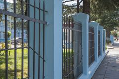 Vinyl Fence Solid Privacy. The streets of embankment Batumi stock photography