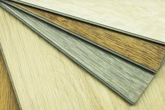 Vinyl floor finish Wood color click lock type. Vinyl floor finish Wood color click lock type stock photography