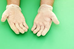 Vinyl Gloved Hands. Human hands wearing powdered vinyl gloves with palms up on a green background stock photography