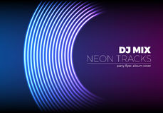 Vinyl grooves as neon lines background. With 80s vapor wave styl. Vinyl grooves as neon lines background. 80s vapor wave style for dj mix cover Royalty Free Stock Photo