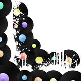 Vinyl grungy corner background. Vector illustration of a corner design element vinyl music background with grunge ink splats Stock Image