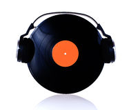 Vinyl with headphones Stock Images