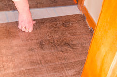 Vinyl laminate floor in the old building Royalty Free Stock Photos