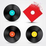 Vinyl LP Discs Set. Retro Music Objects Royalty Free Stock Images