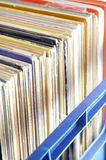 Vinyl LP Record Collection in Crate Stock Image