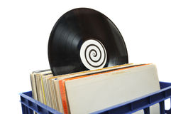 Vinyl LP Record Collection in Crate Royalty Free Stock Images