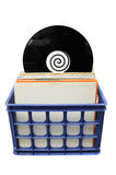 Vinyl LP Record Collection in Crate Royalty Free Stock Photo