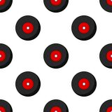 Vinyl LP Record Flat Icon Seamless Pattern Stock Photography