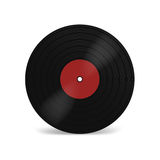 Vinyl LP record with red label. Black musical long play album disc 33 rpm. Old technology, realistic retro design,  mockup i. Llustration,  on white background Stock Photography