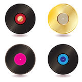 Vinyl lp vintage discs. Vector - Illustration of a collection of vinyl lp discs and gold CD Stock Photo