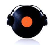 Vinyl met hoofdtelefoons stock afbeeldingen
