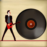 Vinyl Music. Background Illustration for Guitar Based Concerts and Music royalty free illustration