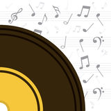 Vinyl with musical notes Royalty Free Stock Photos