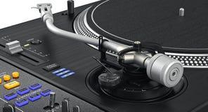 Vinyl needle dj turntable, zoomed view Royalty Free Stock Image