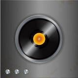 Vinyl och visartavlor på metallisk bakgrund Arkivfoto