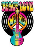 Vinyl Peace Love Music. Retro-style text design of the words, Peace Love Music, with a guitar, peace symbol and vinyl record in colorful gradients royalty free illustration