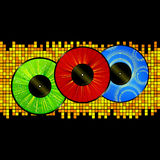 Vinyl picture discs over mosaic background Stock Photos