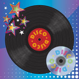 Vinyl Plate and Digital Laser Disc. Disco Music Media Stock Photos