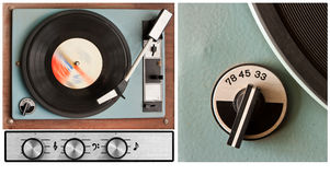 Vinyl player and controls. Set of old dusty vinyl player and controls stock image