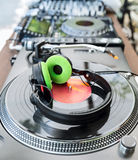 Vinyl Player with headphones Stock Photos