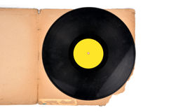 Vinyl record. With vintage cover on white royalty free stock images