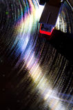 Vinyl record. Old phonograph playing a vinyl record royalty free stock photos
