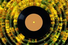 Vinyl record on abstract yellow background. melodies of autumn. Waves of Golden yellow Burgundy dark green flowers royalty free illustration