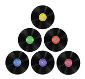 Vinyl Record Albums. In various colors isolated over white Background Stock Images