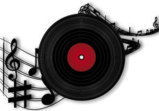 Vinyl Record And Music Notes Stock Image