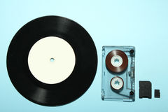 Vinyl record and audio cassette Royalty Free Stock Image