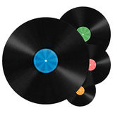 Vinyl Record background. Unlabeled vinyl records illustration with colorful label Royalty Free Stock Photos