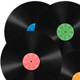 Vinyl Record background. Unlabeled vinyl records illustration with colorful label Royalty Free Stock Photography