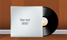 Vinyl record in blank cover envelope. Vector illustration Royalty Free Stock Photo