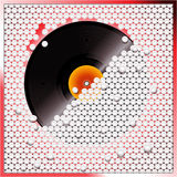 Vinyl record breaking white 3D circular tiles wall. Vinyl Record Breaking a White 3D Buttons Wall Royalty Free Stock Photography