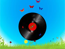 Vinyl record and butterflies background Stock Image